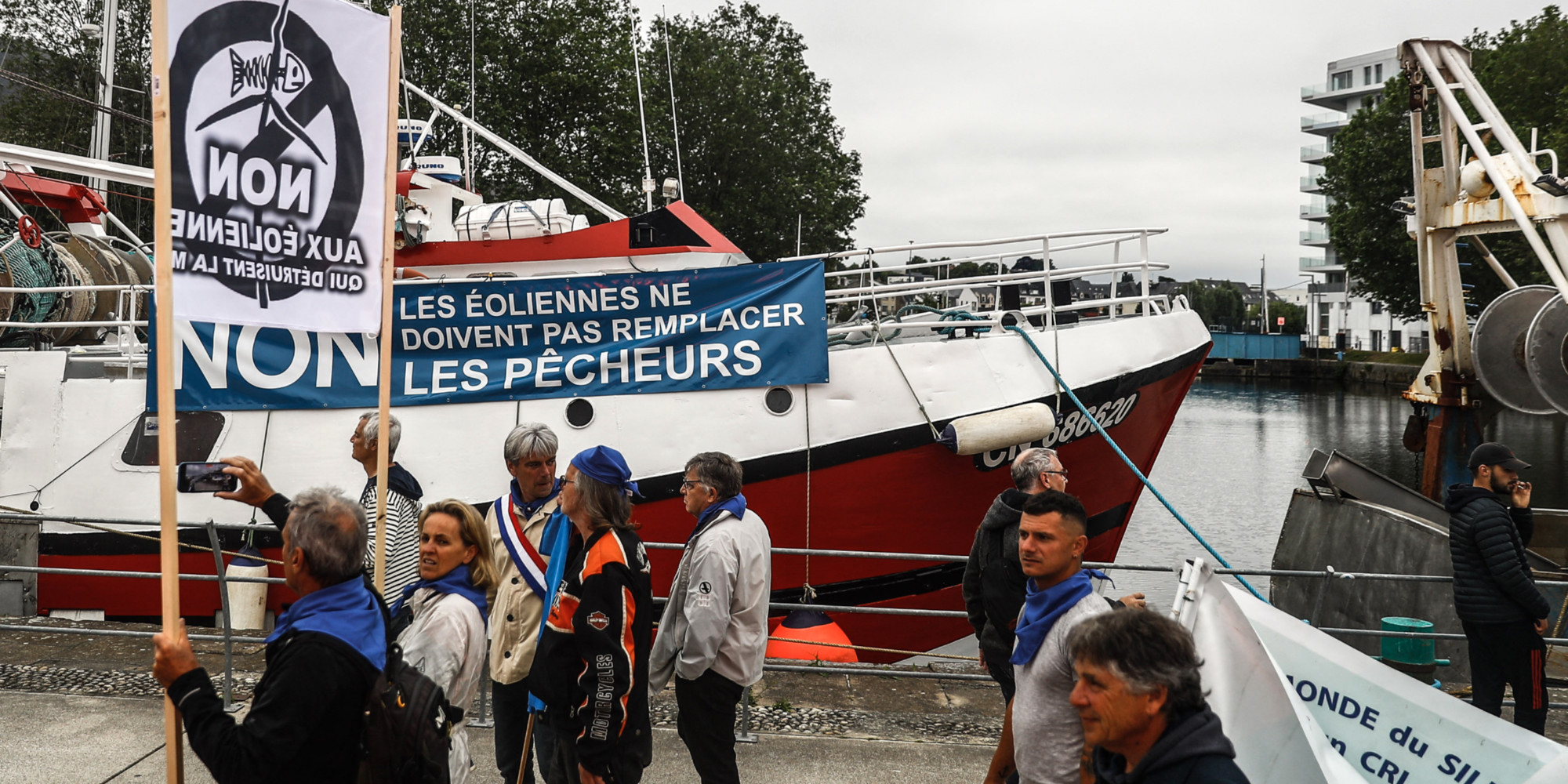 En Normandie, nouvelles manifestations des pêcheurs contre les éoliennes offshore