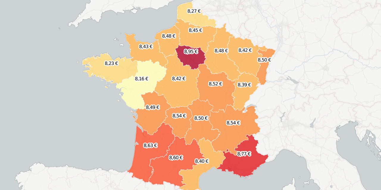 prix carte enfant + Garde d'enfants : la carte de France des prix
