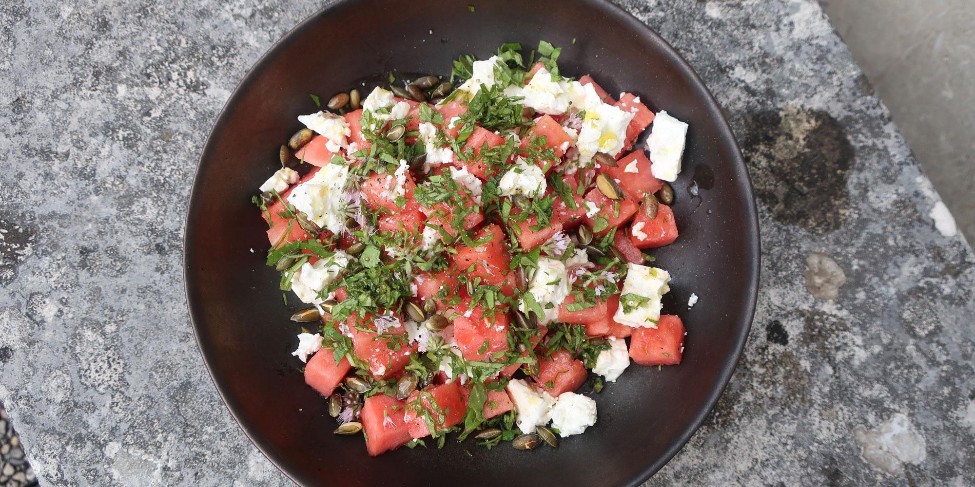 La recette de la salade de pastèque, menthe et feta d'Alessandra Montagne