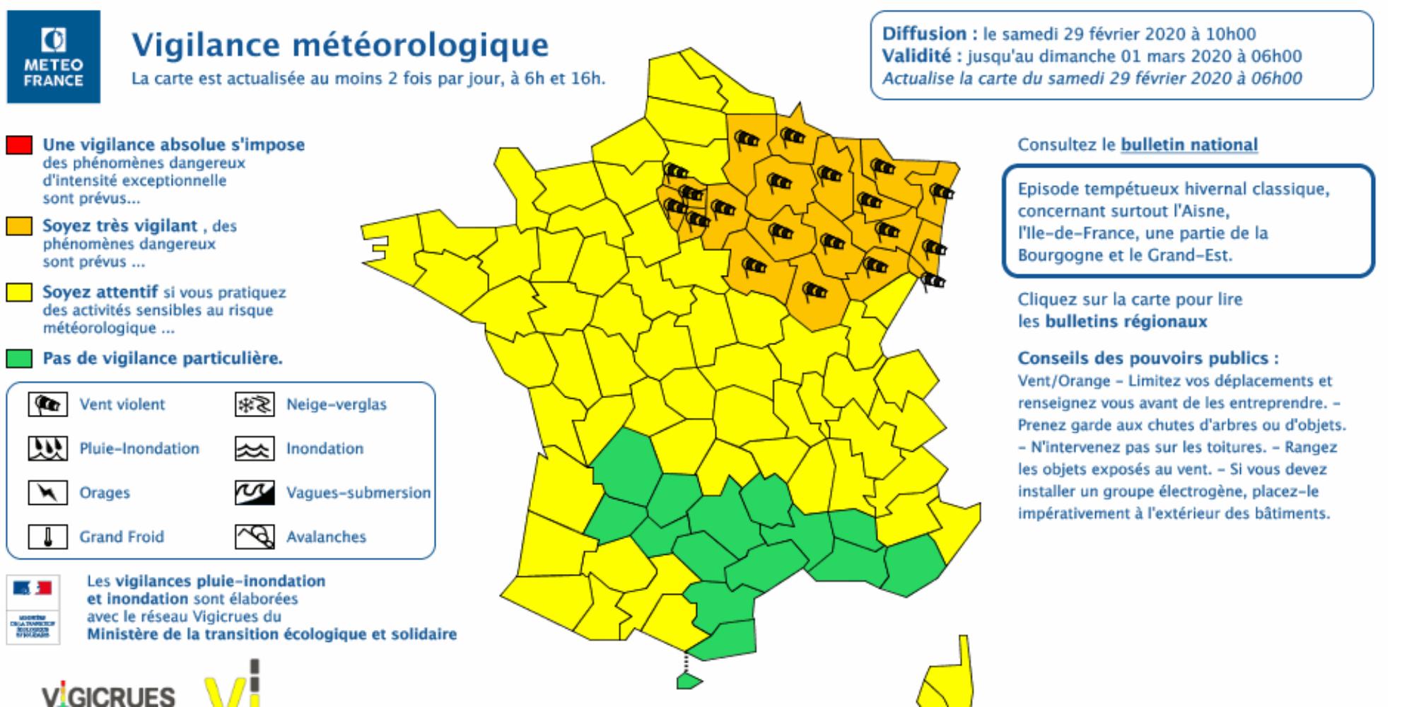 carte de vigilance orange Storm Jorge: 23 departments placed in orange vigilance   Teller Report
