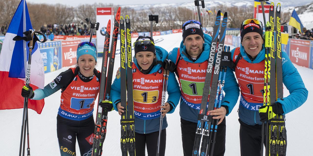 Coupe du monde de biathlon : la France remporte le relais mixte de Soldier Hollow